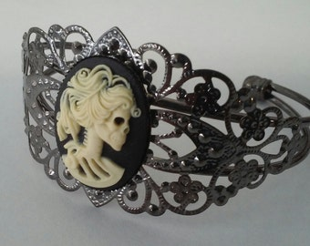 Gothic Skeleton Lady Cameo Filigree Cuff Bracelet