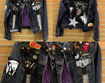 Vintage Patches and Pins Embellished Denim Jean Jacket