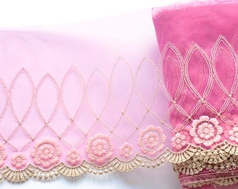 Raspberry Rose Pink Lace Trim, Mullberry Pink Flowered Lace, Pink Girls Dress, Princess Dress, Tutus, Dolls, Lingerie, Lace Crafts