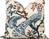 Decorative Pillow Cover Robert Allen Peacock Plume Redux Midnight  Square, Euro sham or Lumbar pillow - Accent pillow Throw Pillow