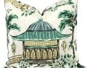 Charlotte Moss Chinoiserie Decorative Pillow Covers, Toss Pillow, Accent Pillow, Throw Pillow, Pillow sham, Mougin Cypress, Pagoda Elephant