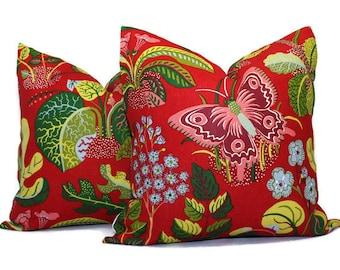 Schumacher Exotic Butterfly in Red Decorative Pillow Cover 18x18, 20x20, 22x22, Eurosham, Lumbar Pillow, Josef Frank, Mid century