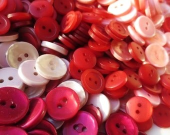 Pearlized Buttons Bulk Lot 6 Colors Spring Mix 484 grams Berry Red Pinks Coral