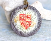 Welsh Slate Medallion Necklace - Coat of arms of Llywelyn the Great - Souvenir from Wales