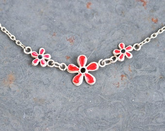 Fuchsia Daisies necklace - Short Sterling Silver Short Bib Necklace - Vintage Summer Jewelry