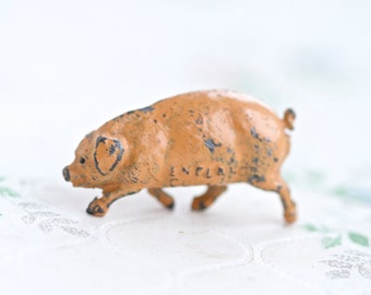 Iron Cast Pig - Antique Farm Lead Toy - Made in England - Running Pink Pig