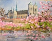 Spingtime at the Sacred Heart Cathedral in Newark, NJ  an original 8 by 10 oil painting