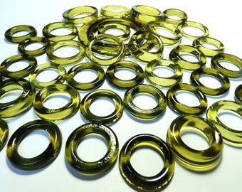 Recycled Amber Green Recycled Kiln Polished Bottle Rings 36 Rings (R951)