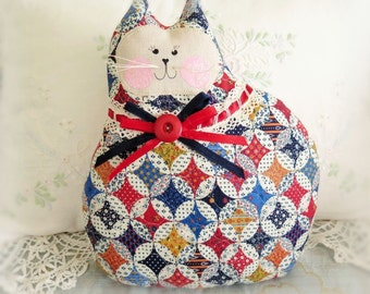 "Large Cat Pillow Doll Fabric Cat 10"" Kitty, Quilted Fabric, Soft Sculpture Handmade CharlotteStyle Decorative Folk Art"