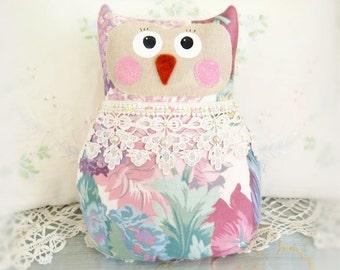 OWL Pillow Doll, 9 inch Soft Sculpture Owl, Floral, Cottage Chic, Prim Primitive Handmade Handcrafted CharlotteStyle Decorative Folk Art