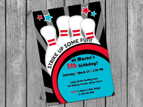 Printable Bowling Invitation  Bowling Party Invite  Printable Boy