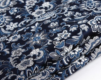 75cm width chinese vintage traditional laughing flower tapestry satin silk brocade  fabric one yard for stage diy cosplay
