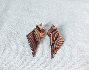 Copper Wing Clip on Earrings