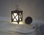 Garden Lantern Miniature- for Fairy Garden or Dollhouse -Handmade 3 Volt Batteries Included