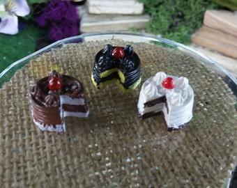 Three Tiny Cakes For Fairy Garden or Dollhouse Miniature Food Enjoyment