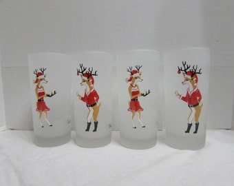 Christmas Reindeer Tom Collins Drink Glassware - Dartington Christimas Glassware - Mr and Mrs Reindeer Glasses - Christmas Barware