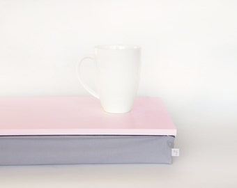 Bed tray with pillow or Laptop Lap Desk - pastel pink with Grey cotton pillow