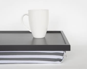 Breakfast serving or Laptop Lap Desk with Pillow Tray- Dark grey tray, Grey and White Striped pillow