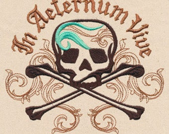 In Aeternum Vive Pirate Skull Embroidered Flour Sack Hand/Dish Towel