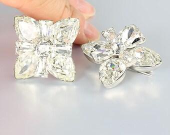 Eisenberg Brooch Set, Clear rhinestone Brooch, Diamante Vintage Bridal Wedding jewelry