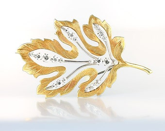 Krementz Leaf Brooch, Rhinestone Crystal Silver Gold Filled 1960s vintage jewelry