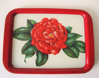 Vintage Red and White Floral Metal TV Trays - Set of Three  - Large Size