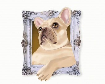 French Bulldog Tiny Art Print - Fawn - Dog Art Print - Tiny Frenchie in a Frame