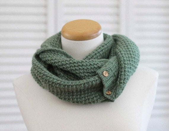 Knitting Pattern Scarf, Infinity Cowl, Green Alpaca from DeuxBrinsDeMaille on...