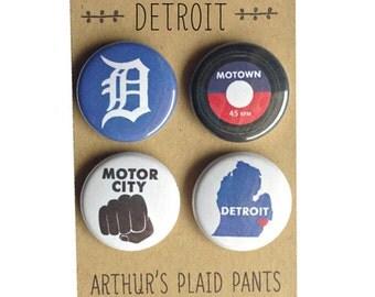 Detroit, Detroit Michigan, Detroit magnets, Detroit badges, magnet set
