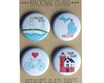 Mackinac Island, Mackinac bridge, Mackinac, Mackinac magnet, Michigan, Mackinac badges, Mackinac magnet set