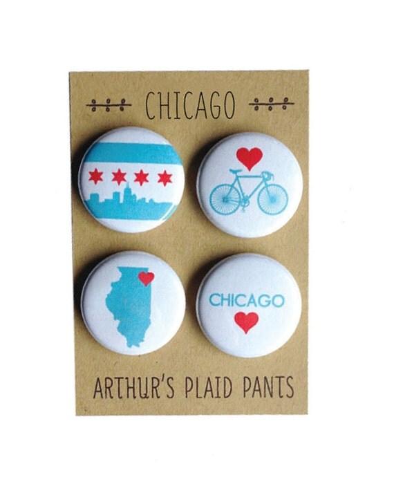 Chicago magnets, Chicago pins, Chicago magnet set, pinback button set