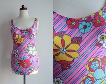 Vintage Swimsuit - Pink Floral Swimsuit - 1970's Bathing Suit - Size S/M