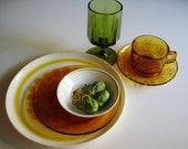 Vintage Place Setting, Mix and Match Dish Set, Green Goblet, Glass Cup and Saucer, Johnson Brothers Ironstone, Duralex, Franciscan Ironstone