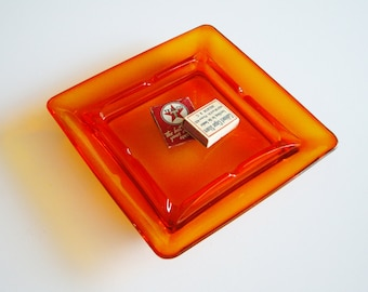 Vintage Orange Ashtray, Viking Persimmon, Square, Large Ashtray, Funky, Pop of Color, Smoker, Tobacciana