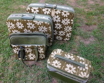 Green floral suitcase set, mod luggage, upholstered bags, 1960s luggage
