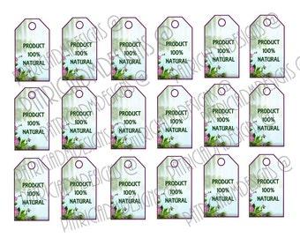 Product 100% Natural Set of 18  Printable Tags/ Digital Download - Hang Tags/ Digital Download Printable Hang Tags