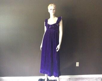 Vintage Donald Brooks Boutique Royal Purple Crushed Moire Velvet Maxi Dress, Vintage Ruffled Velvet Gown, Vintage Prom Dress