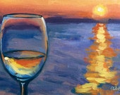 Original Art • Oil Painting • Daily Painter • Daily Painting • Wine At Sunset • Sunset