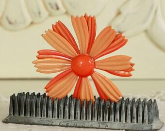1970's Oversized Brooch - Vintage Orange Daisy Pin - Large Flower Jewelry - Mod Orange Flower Brooch