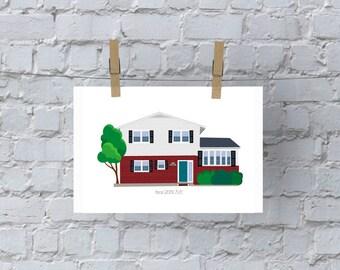 Custom home illustration keepsake / print