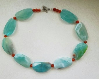 Turquoise and orange carnelian necklace