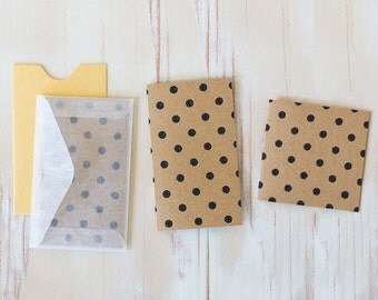 Black Polka Dot / Brown Kraft Embossed Mini Folded Note Cards - 10 pc