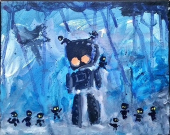 Blue Robot with Orange Eyes in the Rain