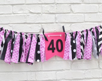 40th Birthday Banner - 40 birthday - adult birthday decorations - forty birthday - adult cake smash - 40th birthday - adult birthday banner