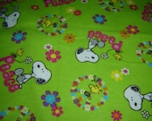 """Snoopy & Woodstock """"Peace"""" cotton flannel fabric, destash, lime green w/multicolored flowers, 1 3/4 yds. x 42"""" wide, children's fabric, Boho"""