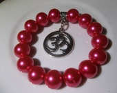 Om Charm-Hot Pink Pearl-Beaded Stretch Bracelet -Yoga-Bright  (139)