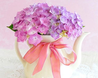 Hydrangeas in a Tea Kettle Photo Notecard