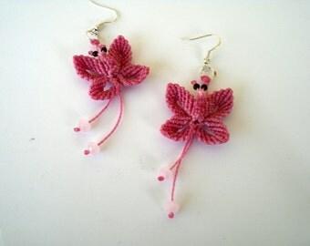 Macrame jewelry. Macrame earrings. Butterflies earrings. Boho Spring gift. Pink jewelry. Fiber art. Mothers day.