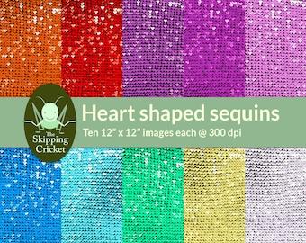 Heart shaped sequins digital paper, glitter digital paper, sequin textures, glitter backgrounds, sequin backgrounds INSTANT DOWNLOAD