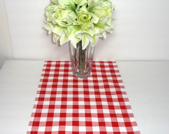 Red White Checkered Table Runner Tablecloth Red Plaid Table Runner Table Top 12x72